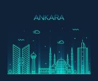 Style linéaire d'illustration de vecteur d'horizon d'Ankara Photos stock