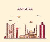Style linéaire d'illustration de vecteur d'horizon d'Ankara Image stock