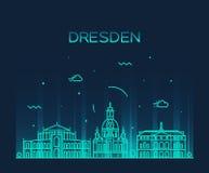 Style linéaire d'illustration de vecteur d'horizon de Dresde Image stock