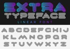 Style linéaire de future conception de sport de technologie d'alphabet de vecteur de police ABC marquent avec des lettres des cal illustration de vecteur