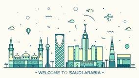 Style linéaire de vecteur à la mode de l'Arabie Saoudite d'horizon illustration de vecteur