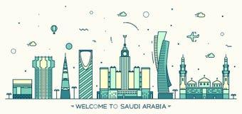 Style linéaire de vecteur à la mode de l'Arabie Saoudite d'horizon illustration stock