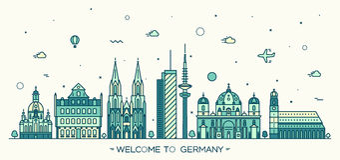 Style linéaire de villes d'illustration allemande de vecteur Photo stock