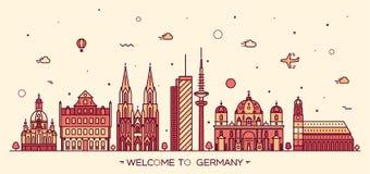 Style linéaire de villes d'illustration allemande de vecteur Images libres de droits