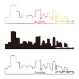 Style linéaire d'horizon d'Austin avec l'arc-en-ciel Image libre de droits