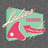style Logo Design de devanture de magasin des années 1950 illustration stock