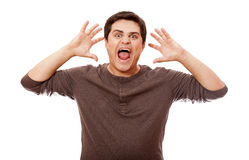 Style man cry at white background. Royalty Free Stock Image
