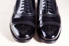 Style and Men's Fashion Footwear Concept. Pair of New Black Styl Stock Images
