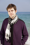 Style men in violet at the beach. Stock Photography