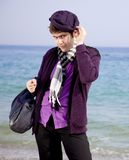 Style men in violet at the beach. Royalty Free Stock Image