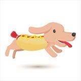 Style mignon comique de bande dessinée de hot dog Images stock