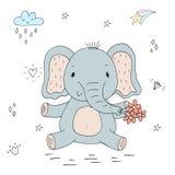Style mignon drôle de bande dessinée d'éléphant Impression de vecteur illustration de vecteur
