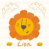Style mignon drôle de bande dessinée de lion impression Photographie stock libre de droits
