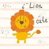 Style mignon drôle de bande dessinée de lion impression Photo stock
