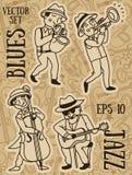Style mignon du ` s de musiciens de griffonnage en 1920 illustration libre de droits