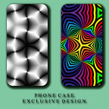 Style Mobil Phone Case. Beautiful  Rainbow and Monochrome Abstract Curves Patterns Stock Photo