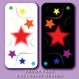Style Mobil Phone Case. Rainbow Colored Stars and Curves on White and Black Backgrounds. Vector Templates Royalty Free Stock Photography