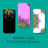 Style Mobil Phone Covers with Oriental Decorative Elements, Vintage Style. Exclusive Design Royalty Free Stock Photo