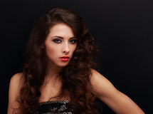 Style model posing with brigth makeup Stock Photography
