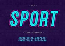 Style moderne de caractère sans obit et sans empattement de typographie d'alphabet au néon audacieux de sport de vecteur illustration stock