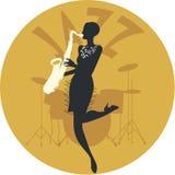 Style musical jazz Silhouette de fille d'aileron jouant le saxophone et les tambours à l'arrière-plan illustration stock