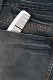 Style never end. White comb in pocket jeans Royalty Free Stock Image