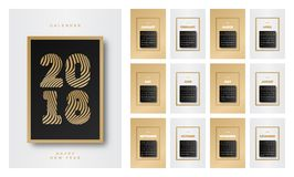 Style noir d'or du calendrier 2018 avec l'ensemble consistant de bonne année de signe de 12 mois Image libre de droits