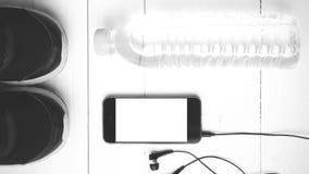 Style noir et blanc de couleur de ton d'équipement de forme physique Image libre de droits