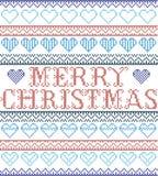 Style nordique de Joyeux Noël et inspiré par le modèle sans couture de Noël de métier croisé scandinave de point illustration stock