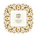 Style oriental de cadre d'or de vintage de vecteur Images stock