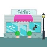 Style plat avant de magasins de bêtes et de magasins Illustration de vecteur illustration stock