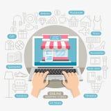 Style plat conceptuel de achat d'affaires en ligne illustration stock