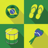 Style plat d'icônes du football du football du Brésil Photographie stock