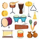 Style plat d'instruments de musique de percussion de vecteur Image stock