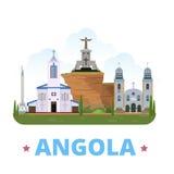 Style plat de bande dessinée de calibre de conception de pays de l'Angola Image libre de droits