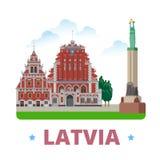 Style plat de bande dessinée de calibre de conception de pays de la Lettonie illustration stock