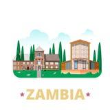 Style plat de bande dessinée de calibre de conception de pays de la Zambie Photos libres de droits