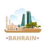 Style plat de bande dessinée de calibre de conception de pays du Bahrain illustration stock