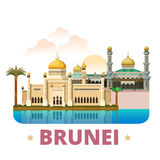 Style plat de bande dessinée de calibre de conception de pays du Brunei illustration stock