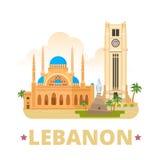 Style plat de bande dessinée de calibre de conception de pays du Liban Images libres de droits