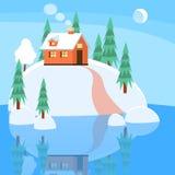 Style plat de bannière horizontale de paysage d'hiver illustration libre de droits