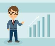 Style plat de caractère d'homme d'affaires Homme d'affaires avec l'échelle de la croissance Homme d'affaires Up Arrow Illustratio Photo stock