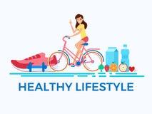 Style plat de conception Concept sain de style de vie Bicyclettes adultes d'équitation de jeune femme illustration stock