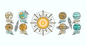 Style plat de conception d'icône de système solaire illustration de vecteur