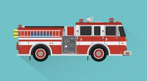 Style plat de conception de transport de moteur de délivrance de camion de pompiers illustration stock