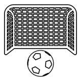 Style plat de grande du football d'aspiration de but de concept de pénalité de ballon de football et de porte de poteau d'icône d illustration stock