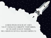 Style plat de navette spatiale Lancement du satellite Vaisseau spatial de décollage Vecteur illustration de vecteur