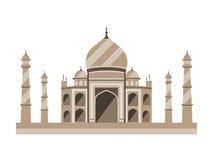 Style plat de Taj Mahal Palais antique dans l'Inde d'isolement sur le fond blanc illustration libre de droits