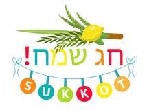 Style plat de typographie heureuse de Sukkot avec l'etrog, lulav, Arava, Hadas illustration de vecteur