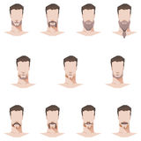 Style plat masculin de moustache et de barbe de visage Photo stock